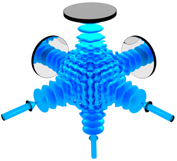 3D Lattice structure generated by three retroreflected laser beams